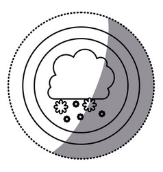 Sticker monochrome circular frame with cumulus of vector