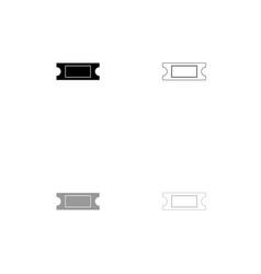ticket black and grey set icon vector image vector image