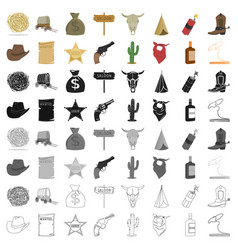 wild west set icons in cartoon style big vector image vector image
