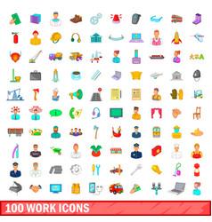 100 work icons set cartoon style vector