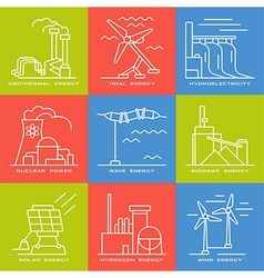 Set of web icons on electricity generation plants vector