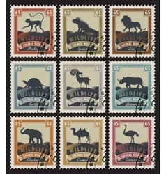 Set of stamps with different animals vector