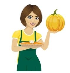 woman holding freshly baked homemade pumpkin pie vector image