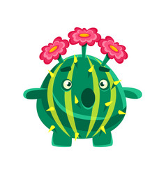 funny surprised succulent with pink flowers vector image