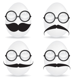 Egg with mustache and sunglasses vector image