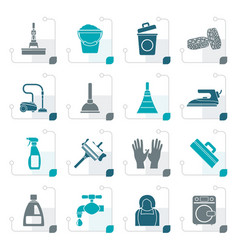 stylized cleaning and hygiene icons vector image