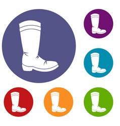cowboy boot icons set vector image