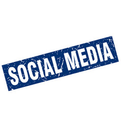 Square grunge blue social media stamp vector