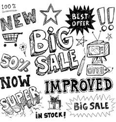 Hand-drawn sale doodles vector