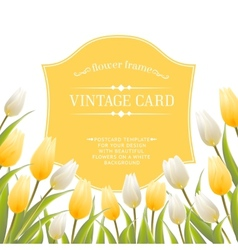 Vintage label with spring flowers vector