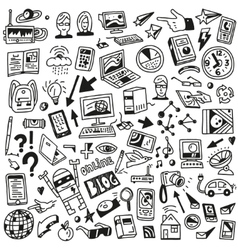 Devices  computers technology - doodles set vector image