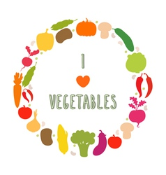 I love vegetables frame healthy food icons vector