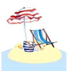 Beach chair on island vector