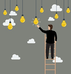 Businessman on the ladder catching a light bulb vector