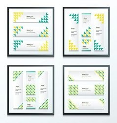 Triangle pattern green and yellow styles set vector