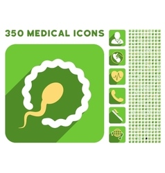 Egg insemination icon and medical longshadow icon vector