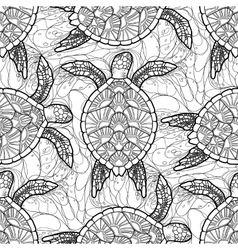 Hawksbill sea turtle pattern vector