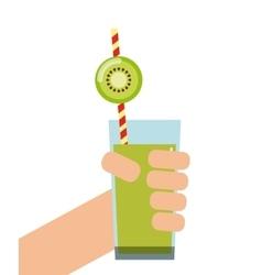 Kiwi detox icon smoothie and juice design vector