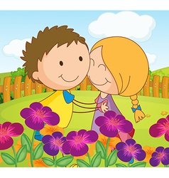 A couple dating at a garden in the hilltop vector image vector image