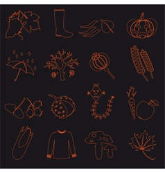 Autumn outline icons on black background set eps10 vector