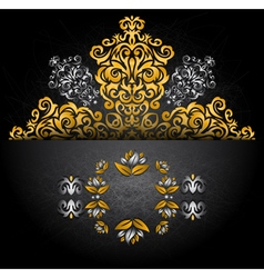 Card with ornament and banner vector image vector image