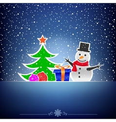 Christmas dark snow blue card vector image