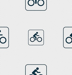 Cyclist sign seamless pattern with geometric vector