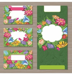 Design templates with spring flowers for business vector image vector image