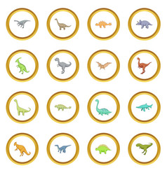 Different dinosaurs icons circle vector
