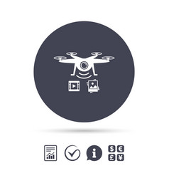 Drone icon quadrocopter with video camera vector