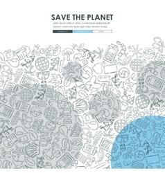 ecology Doodle Website Template Design vector image vector image