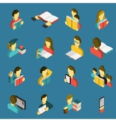 Education reading isometric icons set vector