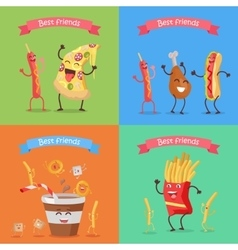 Funny food for childish menu conceptual banner vector