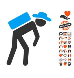 gentleman porter icon with dating bonus vector image