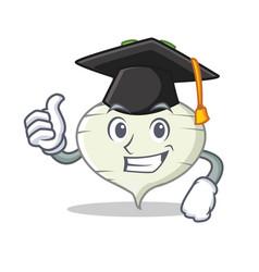 Graduation turnip character cartoon style vector