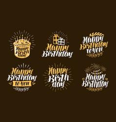 happy birthday label beautiful handwritten vector image vector image