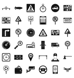 Hard traffic icons set simple style vector