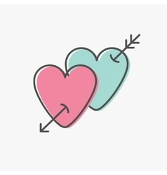 Heart arrow sign symbol Thin line icon set Pink vector image vector image