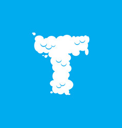 Letter t cloud font symbol white alphabet sign on vector