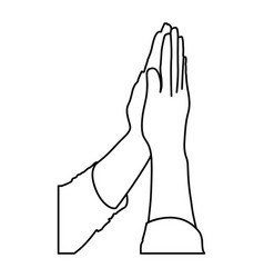 Monochrome contour of hands together for praying vector