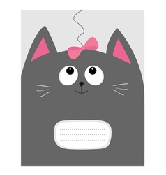 Notebook cover composition book template gray cat vector