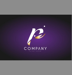p alphabet letter gold golden logo icon design vector image vector image