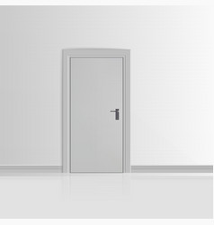 Realistic White Wall with Door vector image