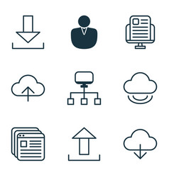 Set of 9 world wide web icons includes website vector