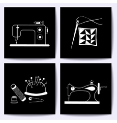 Set of cards with sewing machine needle The vector image