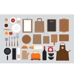 set of mock up kitchen tool flat design vector image vector image