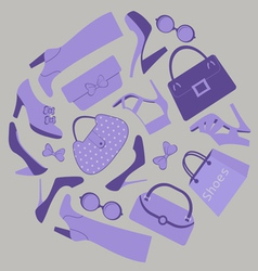 Shoes and bags composition vector image vector image