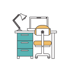 silhouette color sections of desk home with chair vector image vector image