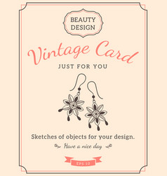 sketch earrings and text vector image