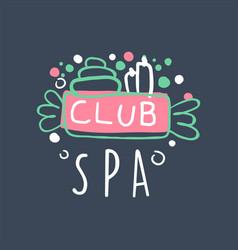spa club logo design emblem for wellness yoga vector image vector image